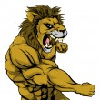 A mean looking lion sports mascot fighting and pun...