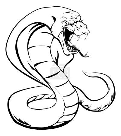 Illustration pour Un serpent cobra avec la cagoule relevée et la langue sur le point de frapper - image libre de droit