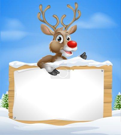 Christmas Cartoon Reindeer Sign