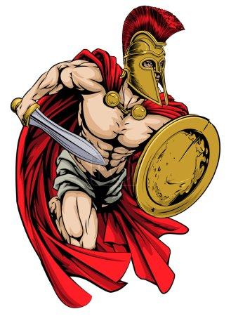 Illustration pour Illustration d'un personnage guerrier ou d'une mascotte sportive dans un casque de style troyen ou spartiate tenant une épée et un bouclier - image libre de droit