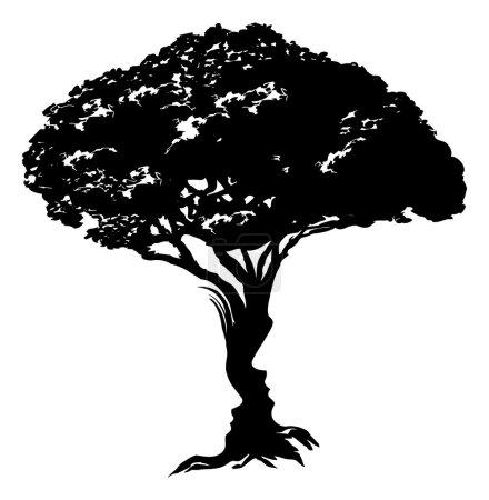 Illustration pour Illustration d'une illusion d'optique abstraite d'arbre formée à partir d'un concept de visage homme et femme - image libre de droit