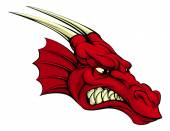 A mean looking red dragon mascot character could be a Welsh dragon or sports mascot