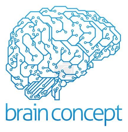 Illustration pour Illustration abstraite d'un cerveau de carte de circuits imprimés de profil, concept d'intelligence artificielle - image libre de droit