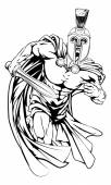 An illustration of a warrior character or sports mascot  in a trojan or Spartan style helmet holding a swor