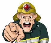 Angry cartoon fireman
