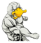 A mean looking duck character mascot fighting and punching with fist