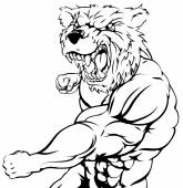 A tough muscular bear character sports mascot attacking with a punch