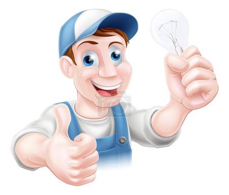 Illustration pour Un électricien ou un homme pratique donnant un pouce levé et tenant une ampoule - image libre de droit