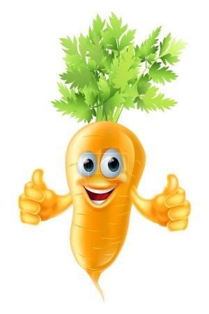 Illustration pour Une illustration d'une mignonne mascotte de carotte heureuse donnant un pouce vers le haut - image libre de droit
