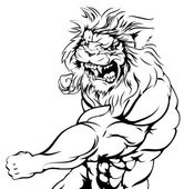 Lion character fighting