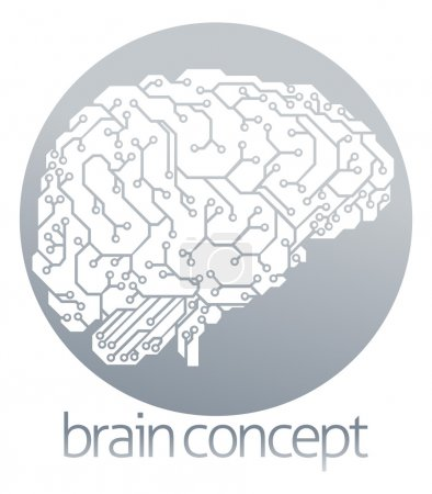 Illustration for An illustration of an electrical circuit board brain in profile, artificial intelligence science circle concept design - Royalty Free Image