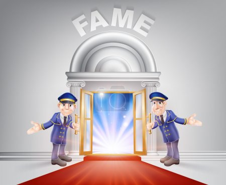 Photo for Fame Door concept of a doormen holding open a red carpet entrance to fame with light streaming through it. - Royalty Free Image