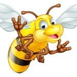An illustration of a cute cartoon bee mascot chara...