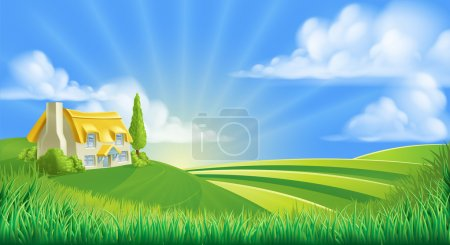 Illustration for An illustration of a cute thatched farm cottage in a landscape of rolling hills - Royalty Free Image