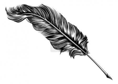 Illustration for An original illustration of a feather quill pen in a vintage woodblock style - Royalty Free Image