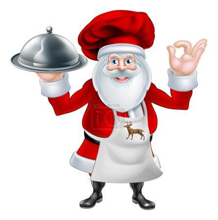Illustration pour Illustration d'un personnage de chef ou de cuisinier du Père Noël portant un tablier et un chapeau de chef tenant une assiette ou un plateau de nourriture - image libre de droit