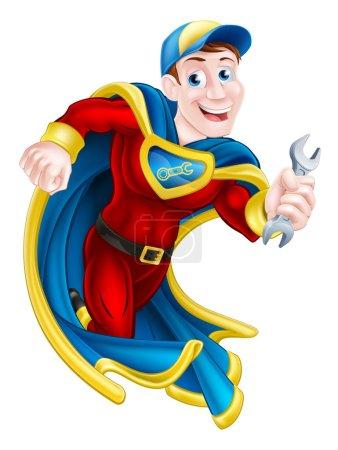 Illustration pour Illustration d'un mécanicien de bande dessinée ou d'une mascotte de plombier superhéros tenant une clé - image libre de droit