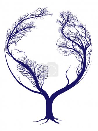 Illustration for A tree growing in the shape of planet earth - Royalty Free Image