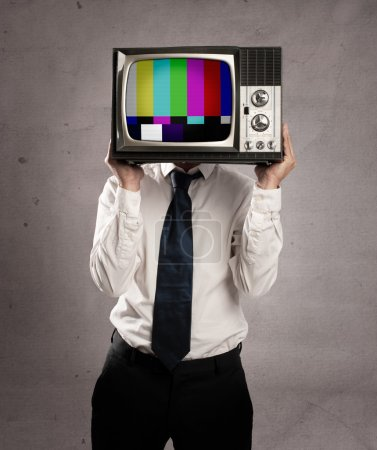 Photo for Businessman with old retro television on his head - Royalty Free Image