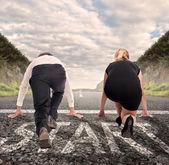 Man versus woman ready to run