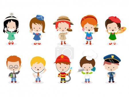 Photo pour Collection d'enfants avec différentes professions . - image libre de droit