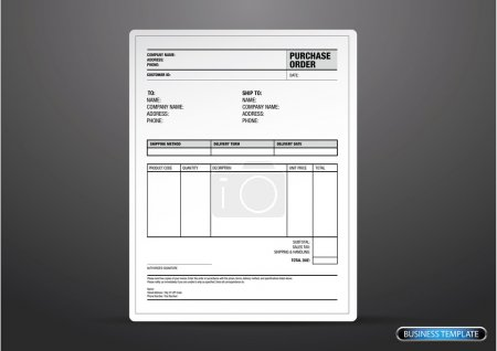 Illustration for Purchase order template vector - Royalty Free Image
