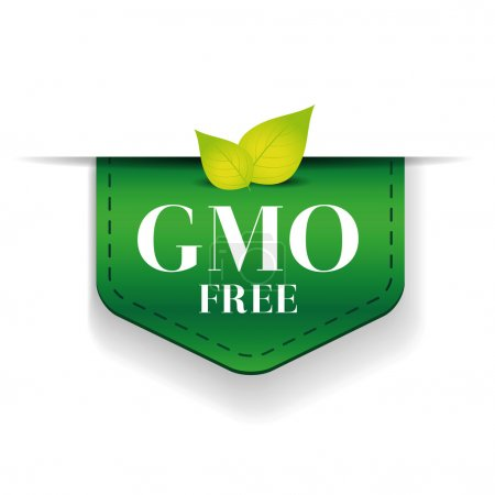 Illustration for GMO free ribbon vector green - Royalty Free Image