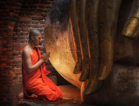 Photo for Buddhism Monk sit in the Temple in Thailand. - Royalty Free Image