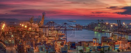 Photo for Logistic port with cargo ship and crane operation for business and import or export art work - Royalty Free Image