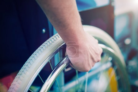 Photo for Detail of a disabled man on a wheelchair - Royalty Free Image