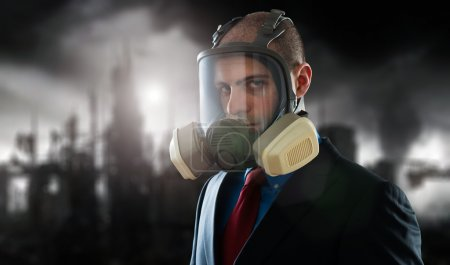 Businessman in polluted post atomic world