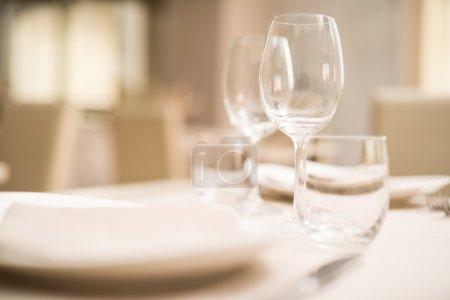 Glasses on restaurant table