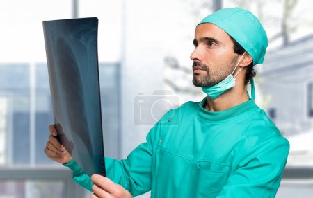 doctor looking at radiography