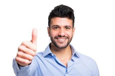 smiling happy man giving thumbs up