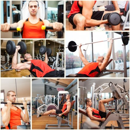 Man working out in fitness club