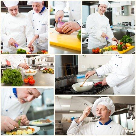Photo pour Chefs professionnels au travail dans une cuisine - image libre de droit