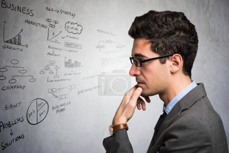Businessman trying to concentrate himself