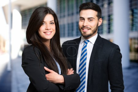 Photo for Outdoor portrait of smiling business people - Royalty Free Image