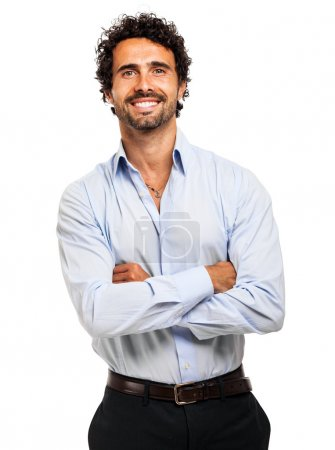 Businessman with crossed arms smiling