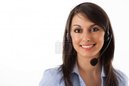 Woman wearing an headset