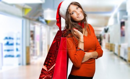 Woman doing shopping before christmas