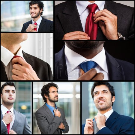 Photo for Collection of images: businessmen adjusting their necktie - Royalty Free Image