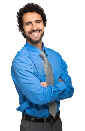Photo for Handsome man smiling isolated on white background - Royalty Free Image
