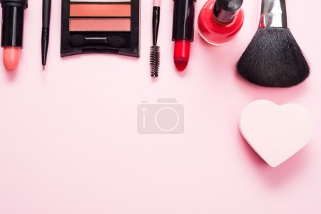 products on a pink table