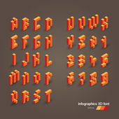 Set of 3d vector pixel alphabet and numbers