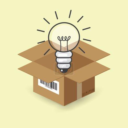 Lightbulb in the paper box