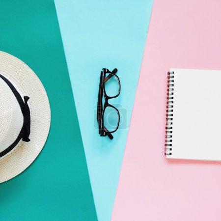 Fashion style with eyeglasses, panama hat