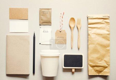 Photo pour Café identité, image de marque, maquette avec effet de filtre rétro - image libre de droit