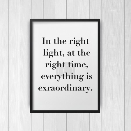 Photo for Inspirational motivating quote poster on frame with wooden wall background - Royalty Free Image