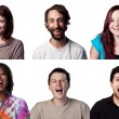 Six actors laugh out loud, all are full size image...